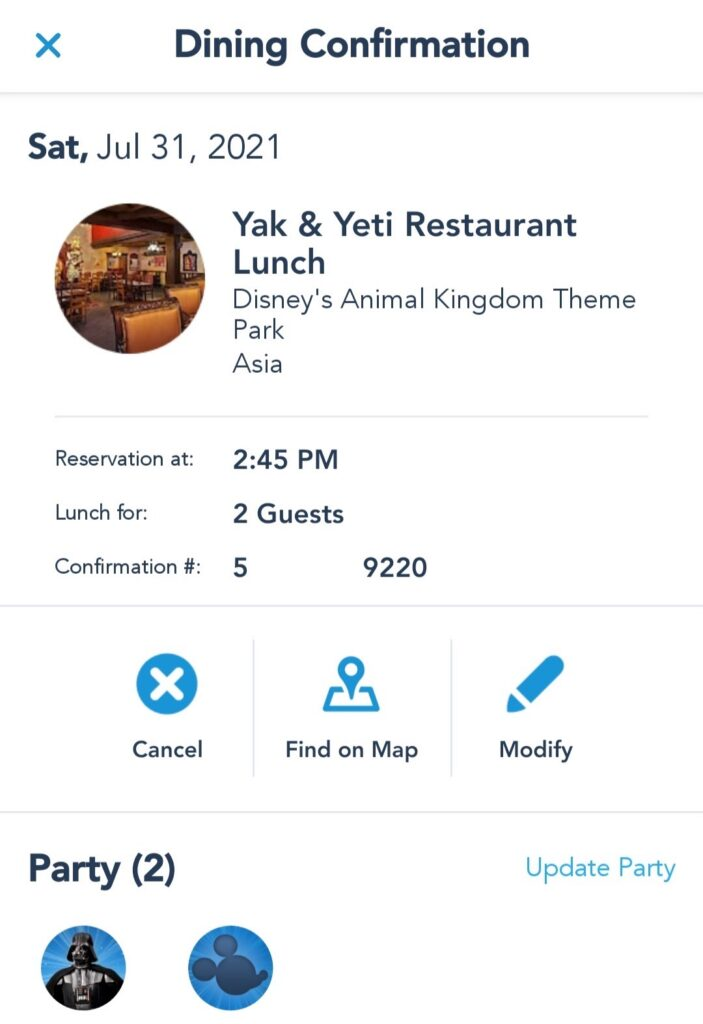 Dining Confirmation Page - Modify, Cancel, or View Dining Location on Map