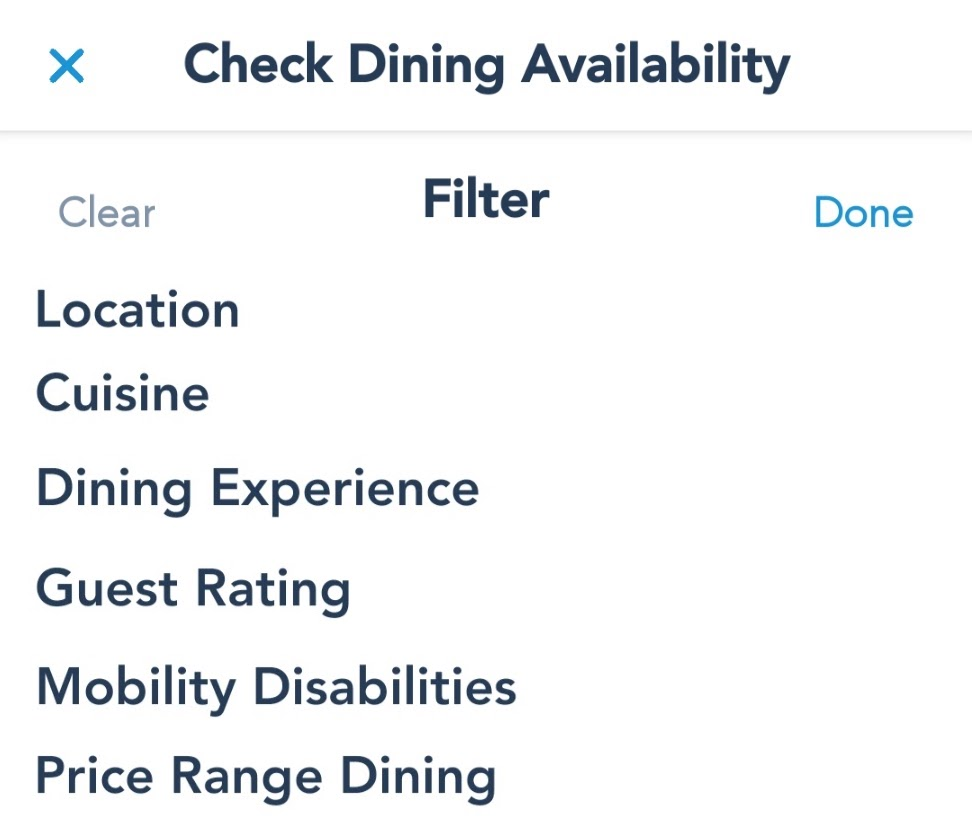 Dining Reservations Filtering Options