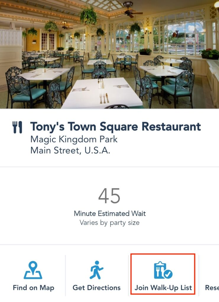 Join Walk-Up List for Disney Restaurants