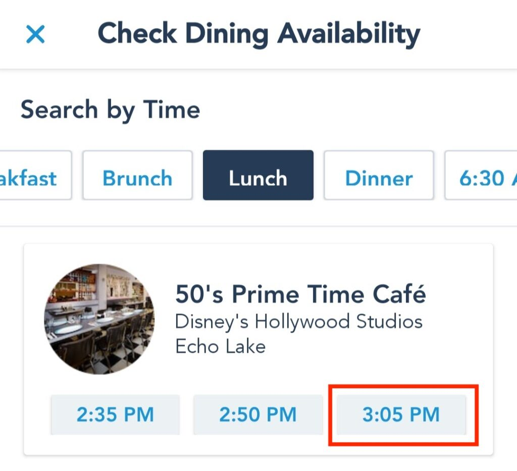 Select Specific Time of Reservation for Chosen Dining Location