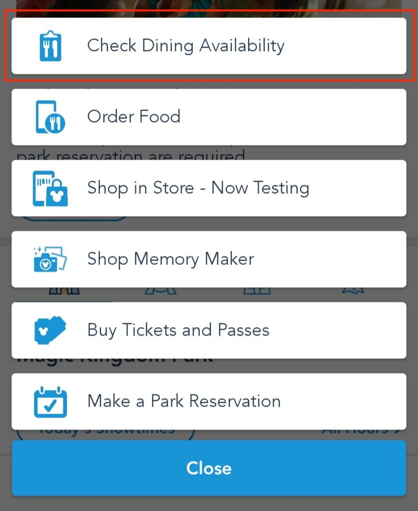 """Tap the """"Check Dining Availability"""" Button"""