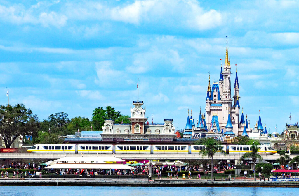 Disney Monorail in front of Magic Kingdom