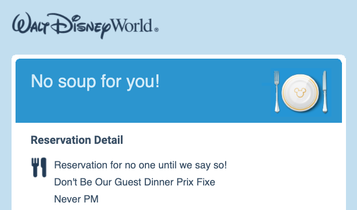 Dining Reservations Temporary Outage Today For Disney World Restaurants