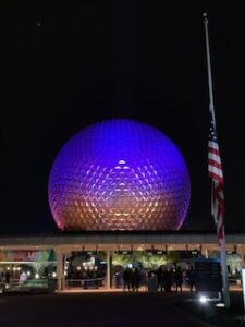Spaceship Earth at night, EPCOT - Disney World