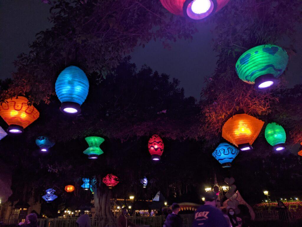 Overhead Lanterns at Night - Mad Tea Party Attraction at Disneyland