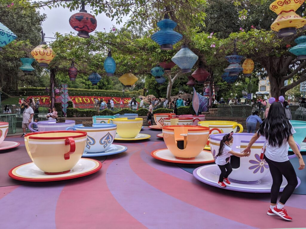 Tea Cups in Mad Tea Party Attraction at Disneyland