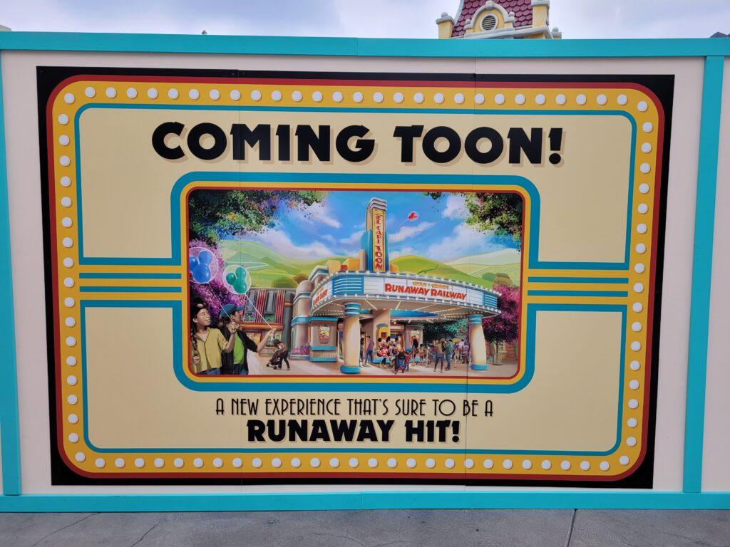 Mickey & Minnie's Runaway Railway Coming Soon Sign - Disneyland