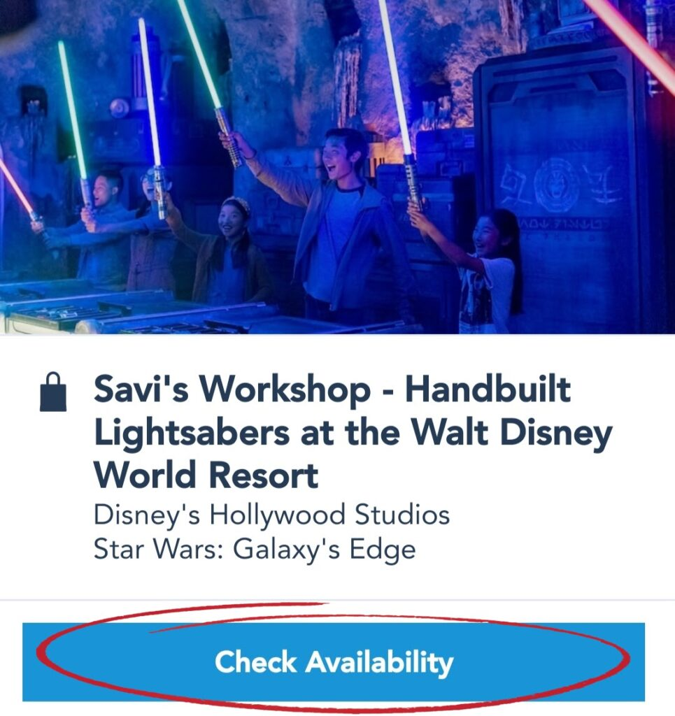 Savi's Workshop Reservations on the My Disney Experience App