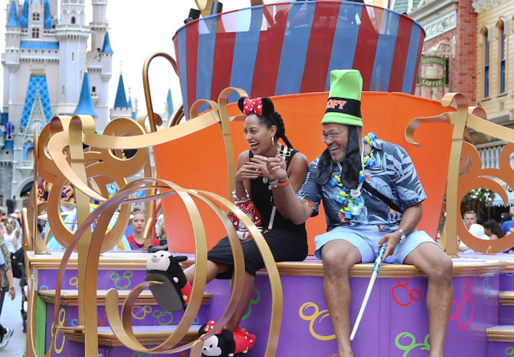 Black-ish's Ross and Fishburne on a float in a Disney parade.