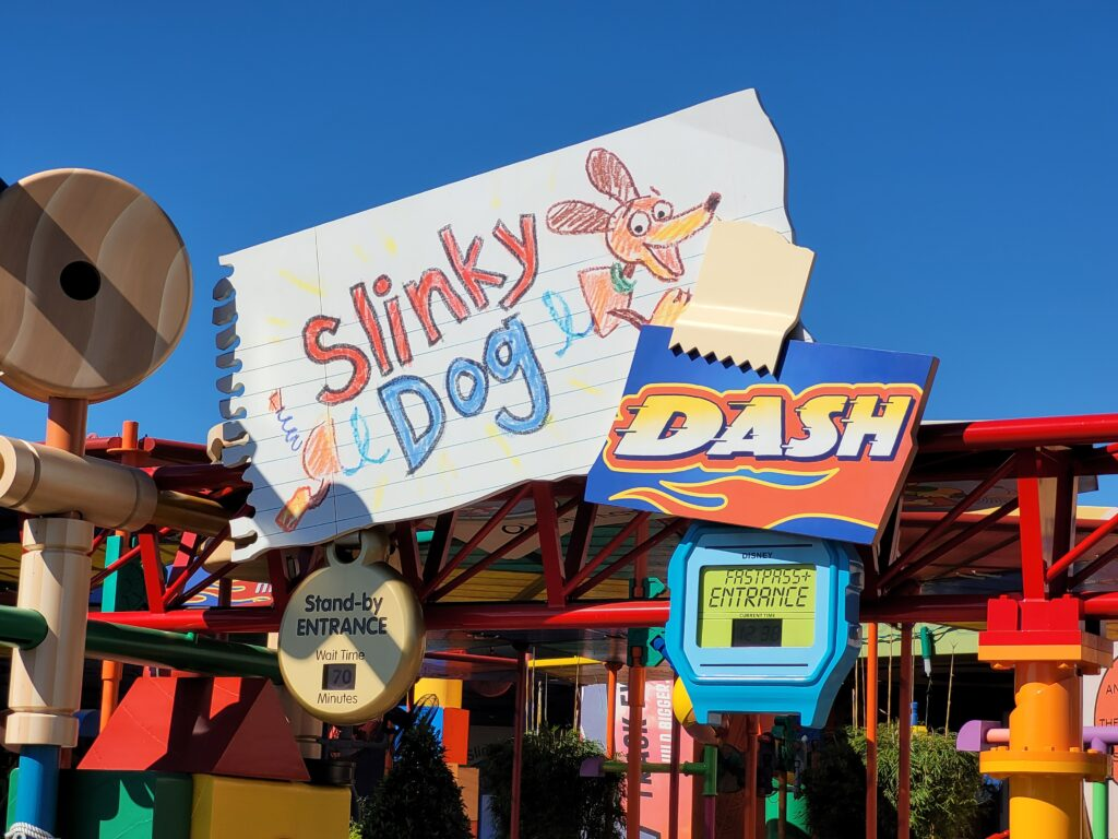 Slinky Dog Dash Sign at Hollywood Studios