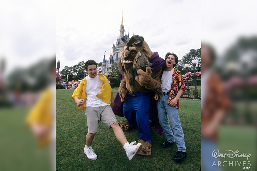 Cory and Shawn of Boy Meets World with Beast at Magic Kingdom.