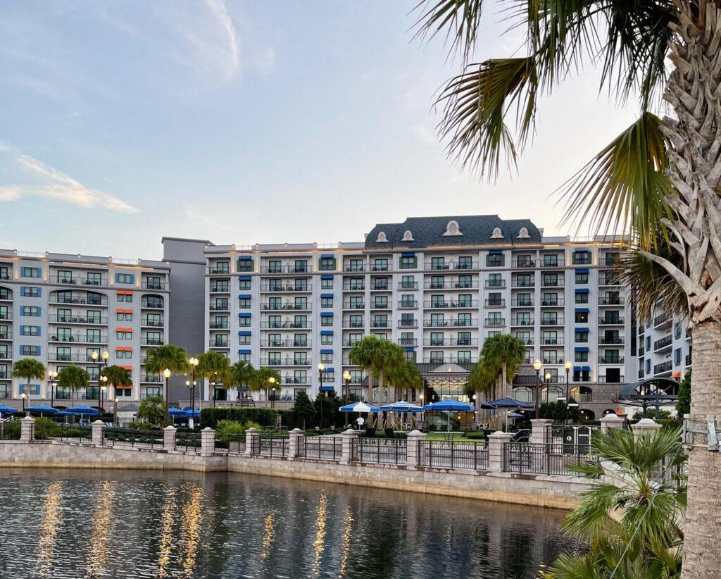 View of Disney DVC Riviera Resort from lake