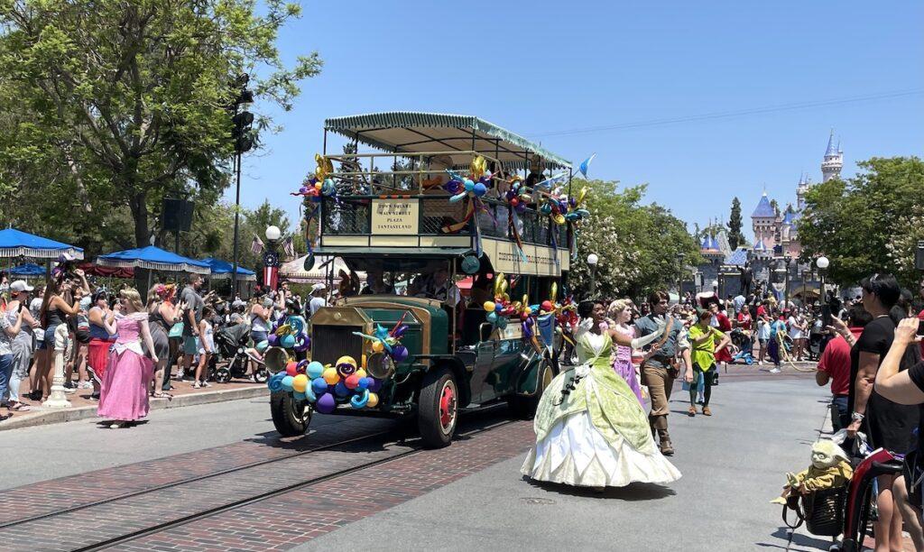 Character cavalcade at Disneyland 66th birthday