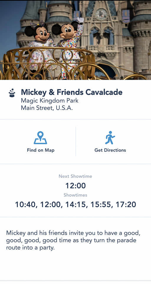 Mickey & Friends Cavalcade Showtimes Now Present on My Disney Experience App