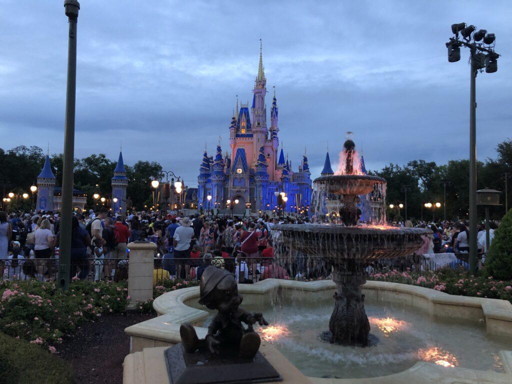 Cinderella Castle before fireworks display.