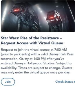 Join Rise of the Resistance Virtual Queue on MDE.