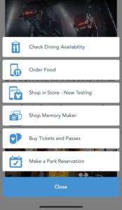 Best Plus Menu features of the My Disney Experience App