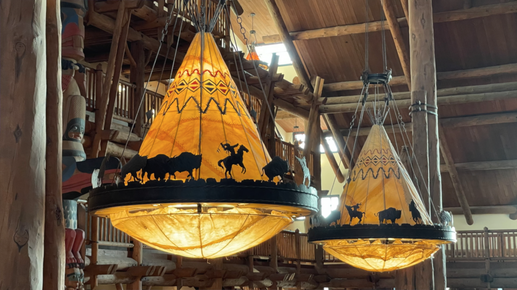 Light Fixtures Are Made From Real Raw Hide - Wilderness Lodge