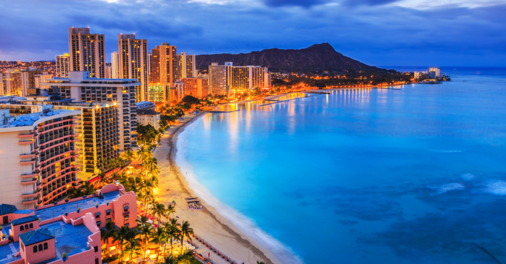 Honolulu at night, day trip from DVC Aulani