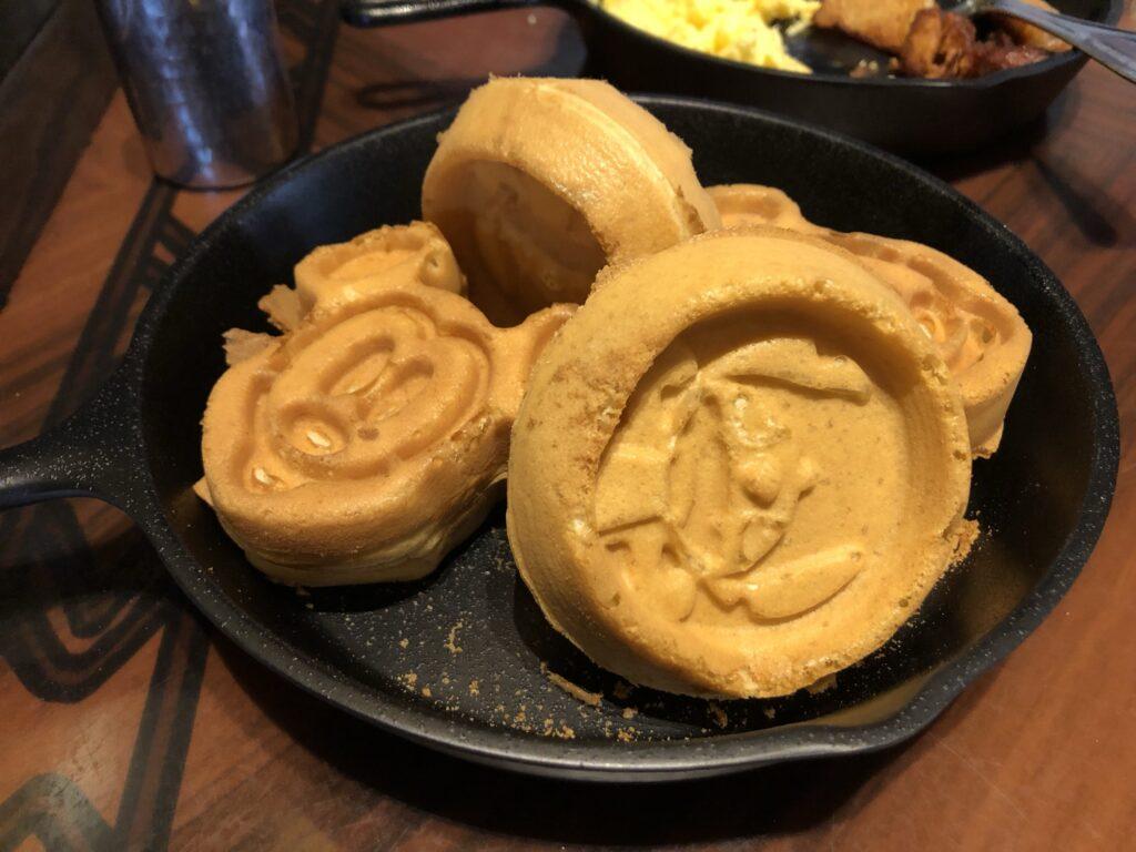 Mickey and Stitch waffles at' Ohana - Disney's Polynesian Resort
