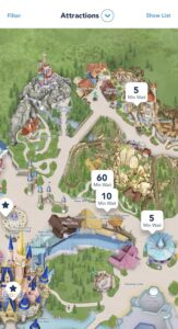 See Attraction Wait Times on My Disney Experience App.
