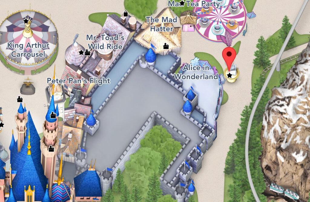 Alice in Wonderland Location Map - Disneyland