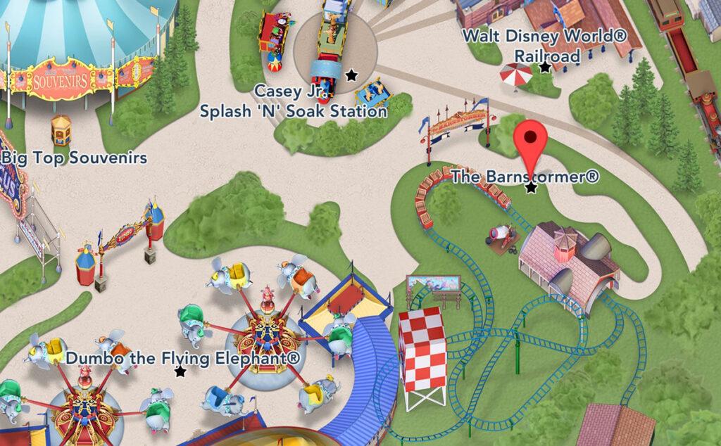 Barnstormer location map Disney World