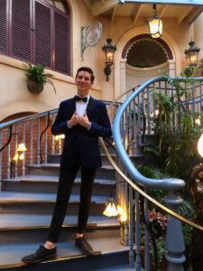 The grand staircase inside Club 33 in Disneyland