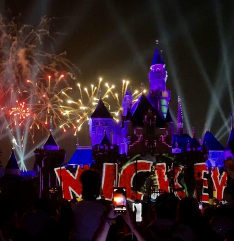 Fireworks at Disneyland's 66th Birthday celebration.