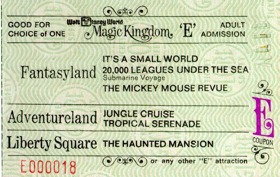 Magic Kingdom ticket book ride ticket 1971