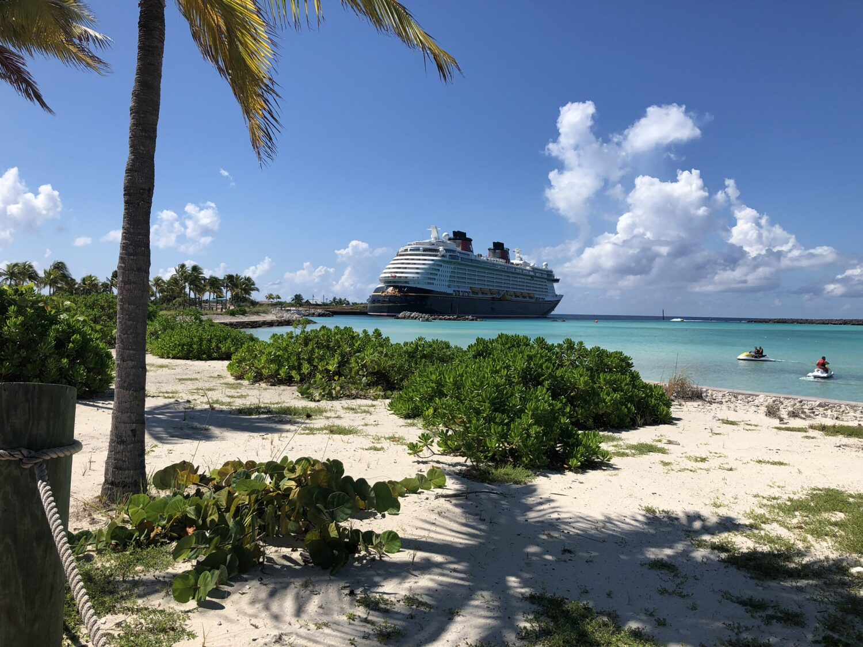 Disney Cruise docked at Castaway Cay