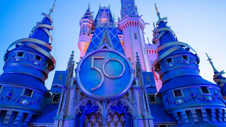 Magic Kingdom castle 50th Anniversary decorations