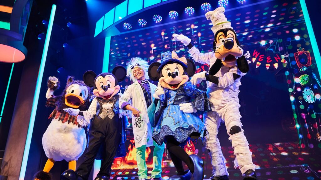 Mickey and friends dressed up for halloween