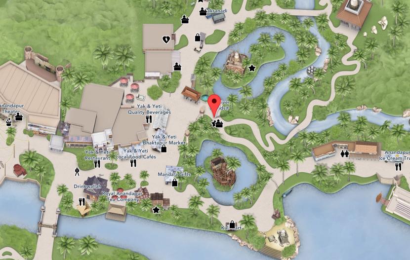 Kali River Rapids location at Disney's Animal Kingdom