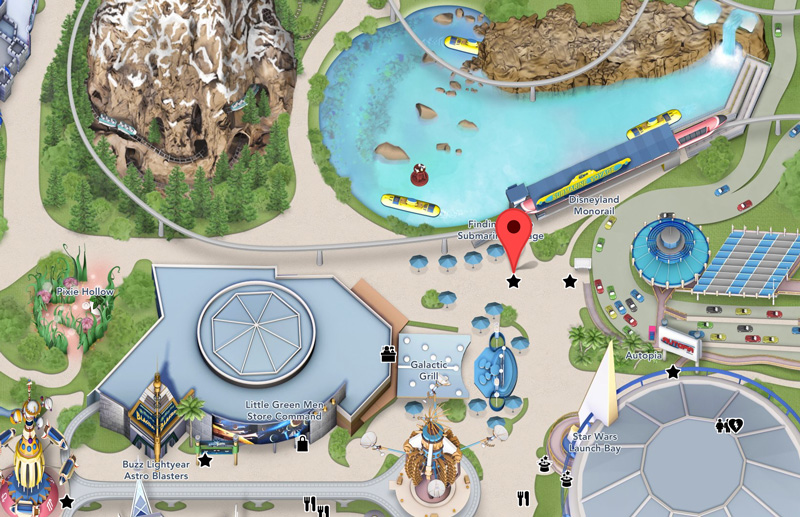 Nemo Submarine Voyager Attraction Location - Disneyland