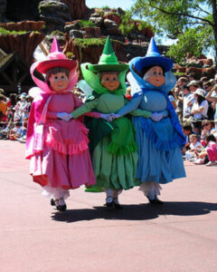 Flora, Fauna, and Merryweather in Disney World