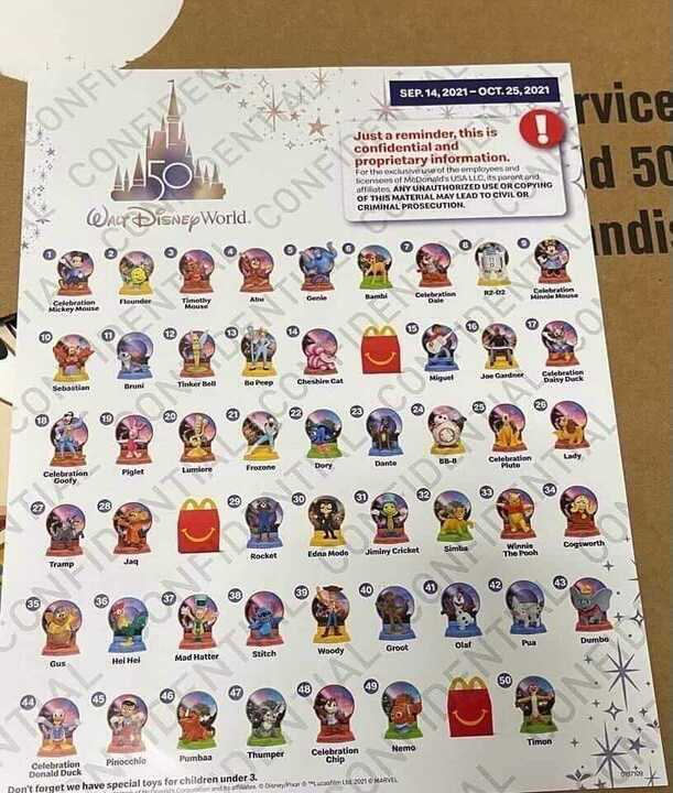 Disney 50th Anniversary Happy Meal Toys