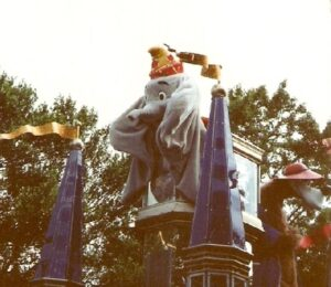 Dumbo featured in a Disney parade