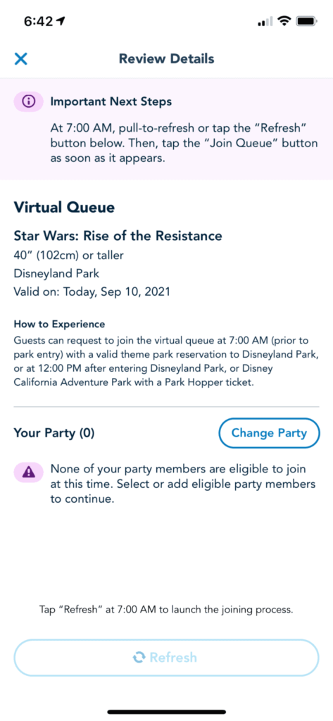 Virtual Queue page with instructions on how to join