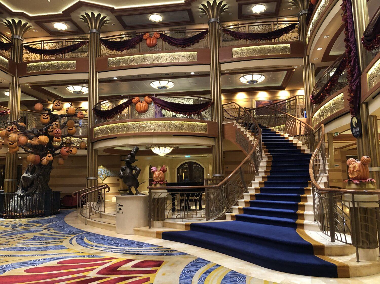 Empty atrium aboard Disney Dream Cruise during COVID