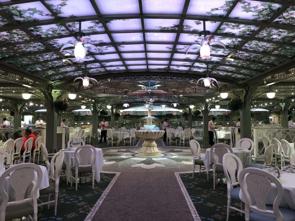 Socially distanced tables on Disney Cruise