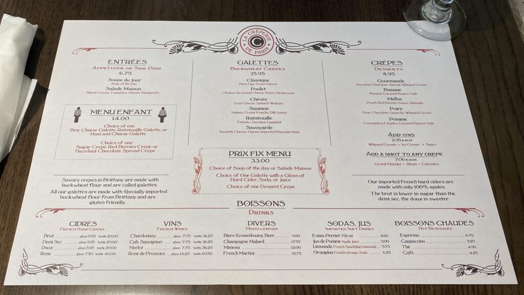 La Crêperie de Paris menu
