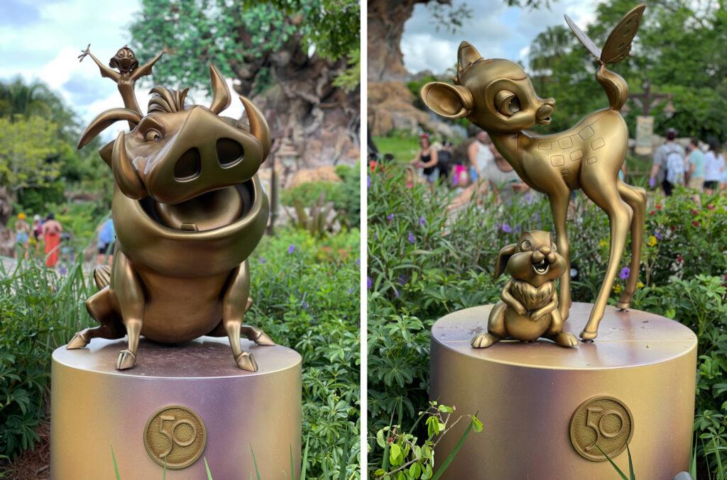 Gold statues at Disney's Animal Kingdom