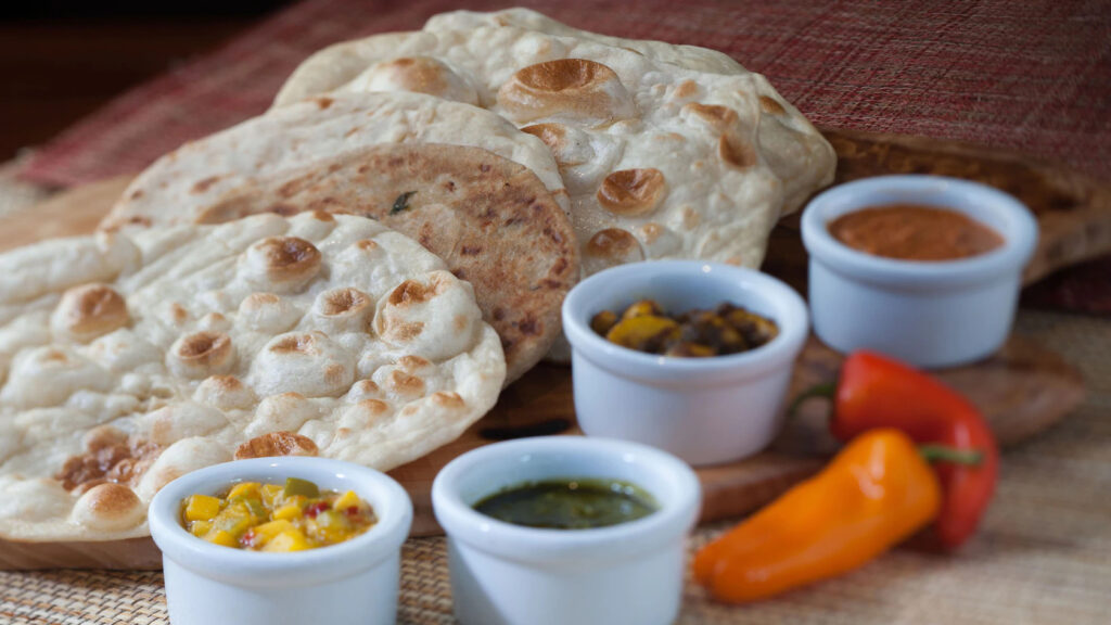 Indian-style bread service with 4 dipping sauces from Sanaa at Animal Kingdom Villas